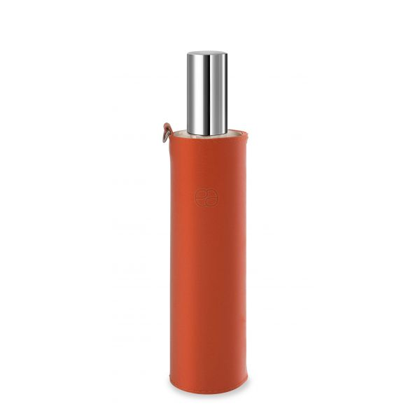 Housse décorative orange pour flacon 100ml.
