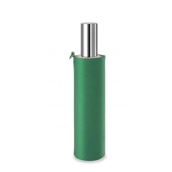 Housse décorative verte pour flacon 100ml.