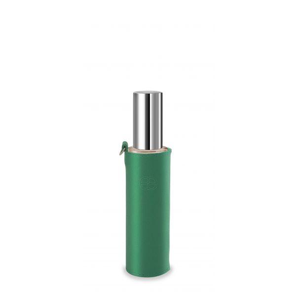 Housse décorative verte pour flacon 50ml.